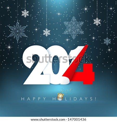 2014 new year. Happy holidays background with snowflakes. Vector EPS 10 illustration. - stock vector