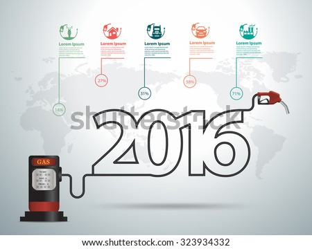 2016 new year ideas concept with gasoline pump nozzle gas station, Vector illustration modern design template - stock vector