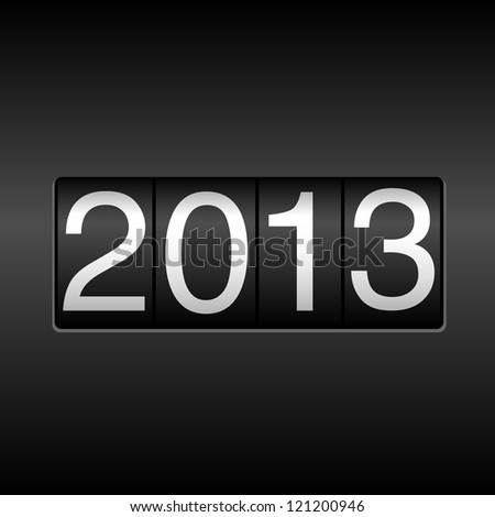 2013 New Year Odometer - New Year 2013 design, odometer style.  Uses simple gradients. - stock vector