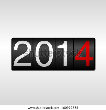 2014 New Year Odometer - New Year 2014 design - odometer style with white background. EPS8 file. - stock vector