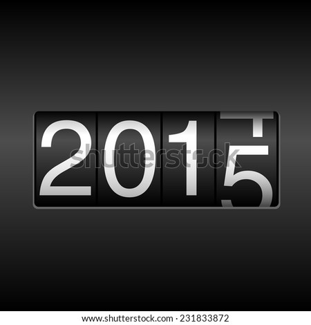 2015 New Year Odometer - white numbers rolling from 2014 to 2015, on black background.  EPS8 file. - stock vector