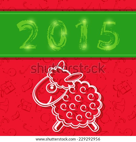 2015 New Year Red Card with Chinese Sheep Silhouette. Vector Illustration - stock vector