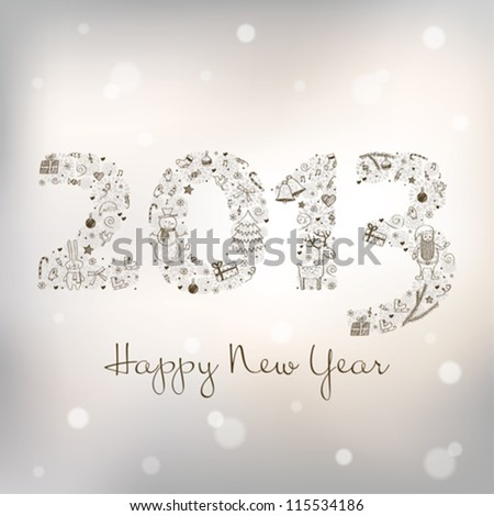 2013 New Year's greeting card - stock vector