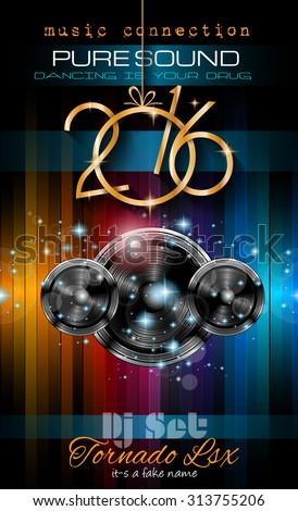 2016 New Year's Party Flyer for Club Music Night special events. Layout Template Background with music themed elements ans space for text. - stock vector