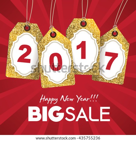 2017 new year sale tags with gold glitter texture. - stock vector