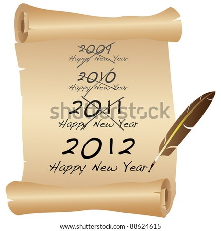 2012 New Year scroll icon. Vector - stock vector