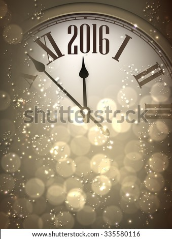 2016 New Year sepia background with clock. Vector paper illustration. - stock vector