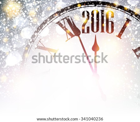 2016 New Year shining background with clock. Vector illustration. - stock vector