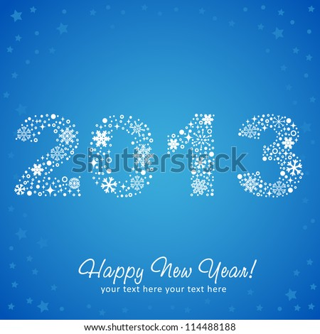 2013 New Year shiny invitation postcard with snowflakes, stars and glitter. Vector illustration