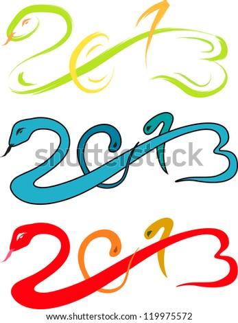 2013 new year, snake sketch vector illustration - stock vector