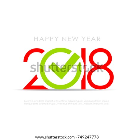 2018 New Year Symbol Check Mark Stock Vector 2018 749247778
