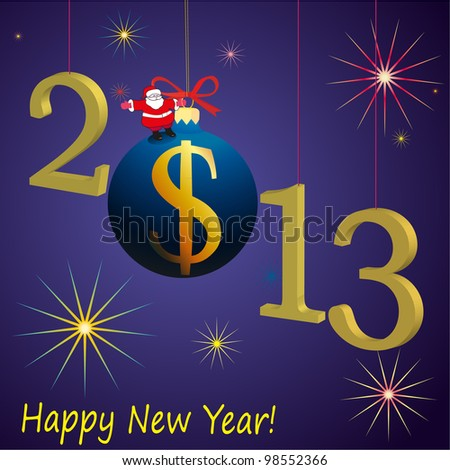 2013 New Year symbols with Santa Claus and US Dollar ball - stock vector