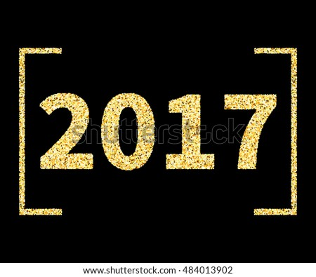2017 New Year type in Golden glitter style on black, template for banner, card, poster, flyer, web, header. Vector gold glittering illustration EPS10