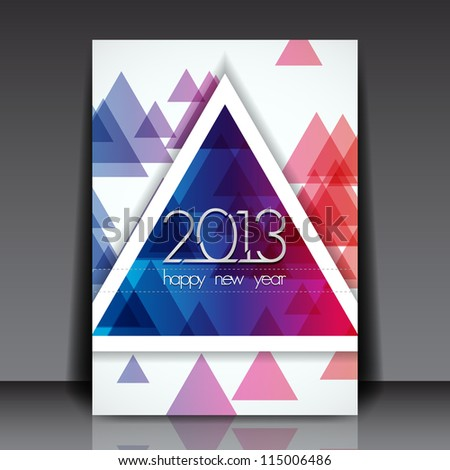 2013 New Year Vector Editable Flyer Template - stock vector