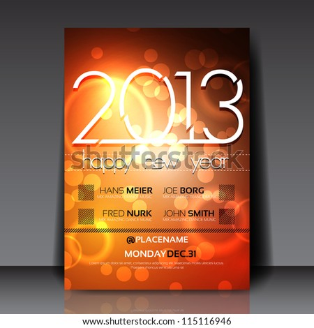 2013 New Year Vector Flyer Template - stock vector