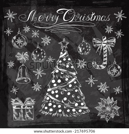 2015 New year vintage chalk set label on a blackboard. Vector Christmas calligraphic inscription, Christmas tree, Santa Claus, snowman, bell, balls, puasentiya and much more for your design. - stock vector