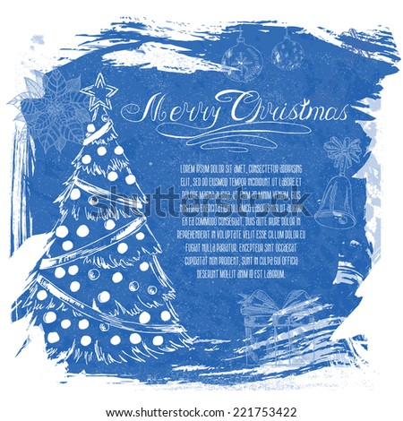 2015 New year vintage invitation. Vector Christmas calligraphic inscription, Christmas tree, Santa Claus, snowman, bell, balls, puasentiya. Retro background for your design. - stock vector