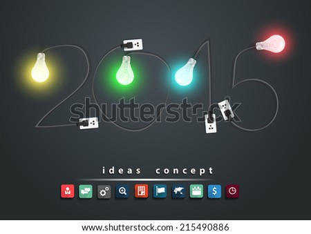 2015 new year with creative light bulb ideas concept, With business flat icons set , Vector illustration modern design template - stock vector