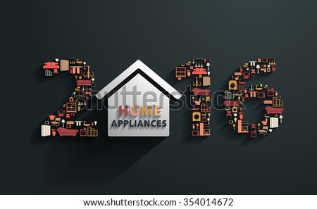 2016 new year with flat design concepts home appliances icons, Vector illustration modern template - stock vector