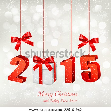 2015 New Years background with gift. Vector. - stock vector