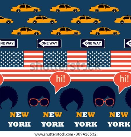 New York pattern - stock vector
