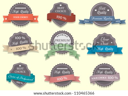 Nine Premium Quality labels.Vector set - stock vector