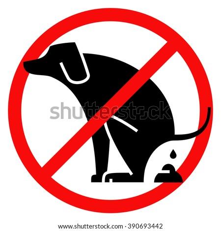 """""""no dog pooping"""" warning sign - stock vector"""