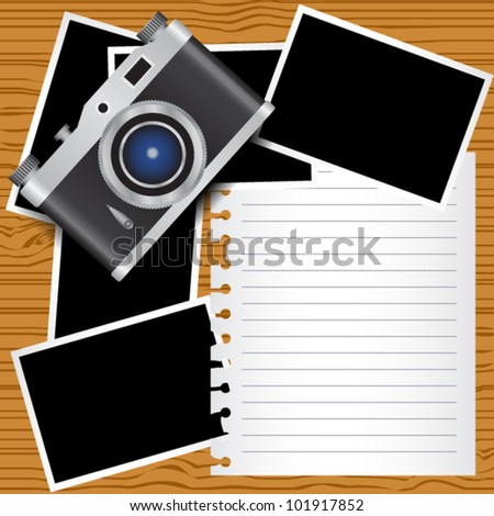 note paper, photo frames and photo camera on the wood table. eps 10 - stock vector
