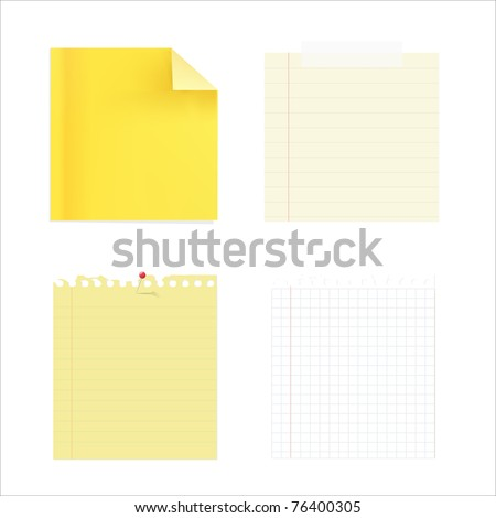 4 Note Papers, Isolated On White Background, Vector Illustration - stock vector