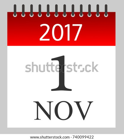 November  Daily Calendar Illustration Stock Vector