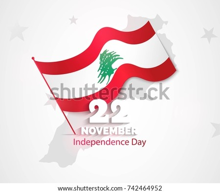 22 November. Lebanon Independence Day greeting card.   Celebration background with map silhouette and waving flag. Vector illustration