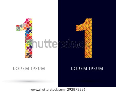 1 Number, Font, designed using Jigsaw puzzle pattern, graphic vector. - stock vector