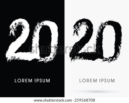 20 Number Grunge Brush Freestyle Font Designed Using Black And White Handwriting Line