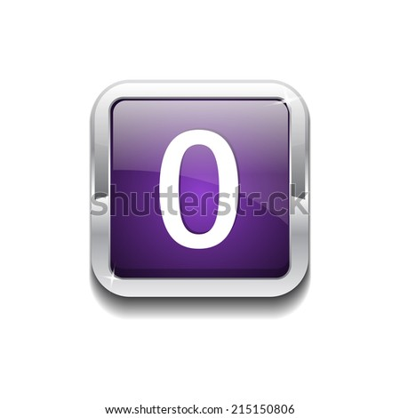 0 Number Rounded Corner Vector Purple Web Icon Button