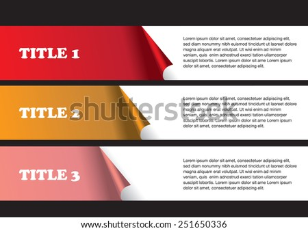 3 numbered strips of peel off stickers with white space for text copy. Abstract vector background isolated on black background as template for page layout design. - stock vector