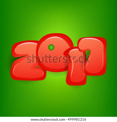 2017 Numbers on Green Background. Vector Illustration