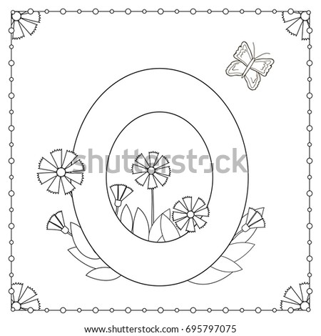 Numeral Zero With Flowers Leaves And Butterfly Coloring Page Vector Illustration