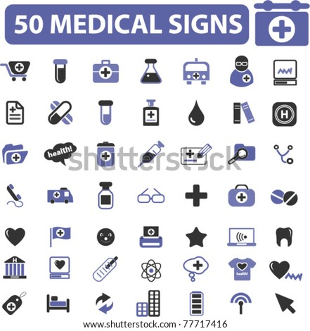 5o medical icons, signs, vector illustrations - stock vector