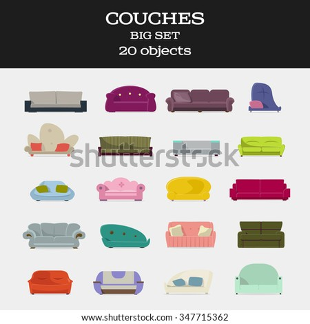 20 objects couches big set isolated vector illustration  - stock vector