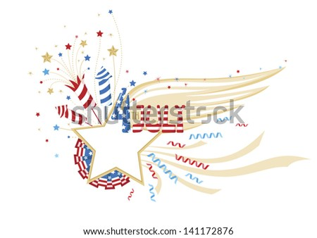 4 of July decorative frame - stock vector