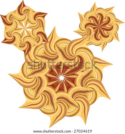 1 of 2 sets of round decorative stylized suns in yellow and brown colours (3 bigger)