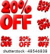20% off Discount sale sign. 3D vector illustration. AI8 compatible. - stock photo