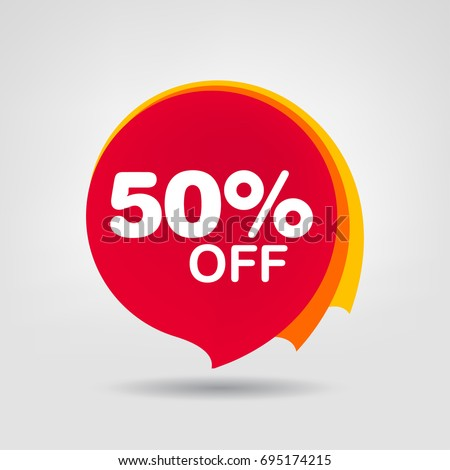 50 off discount sticker sale red stock vector royalty free