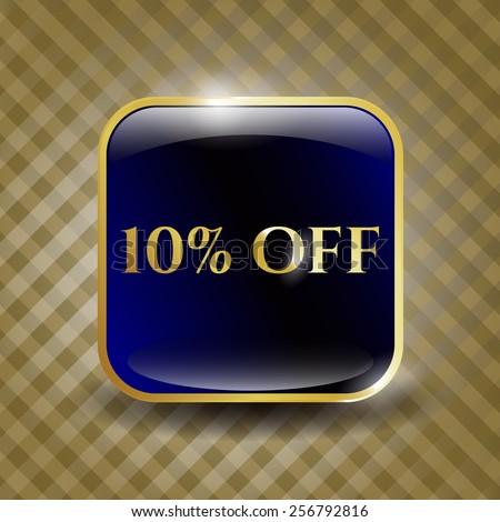 10% Off golden shiny emblem - stock vector