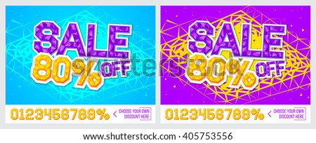 80% off. Sale banner on colorful background. Sale poster. Geometric design. Super Sale and special offer. Vector illustration.