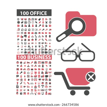 200 office, business, management icons, signs, illustrations design concept set. vector - stock vector