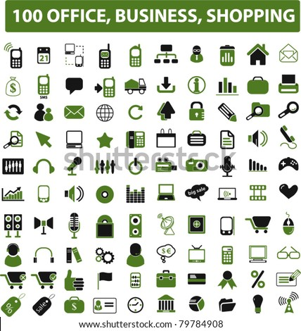 100 office, business, shopping green icons, signs, vector illustrations - stock vector