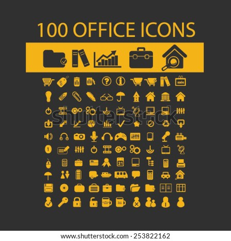 100 office, document, workspace, workplace, administration isolated flat icons, signs, symbols illustrations, images, silhouettes on background, vector - stock vector