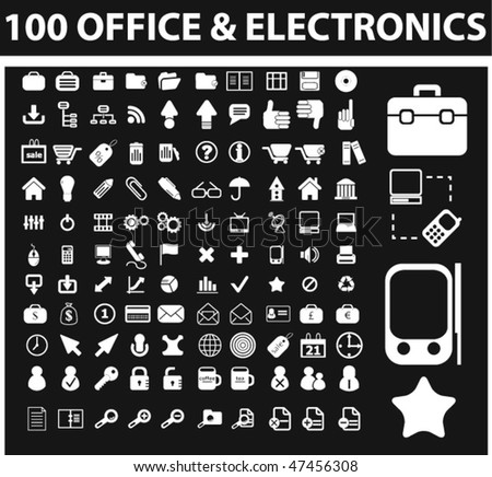 100 office & electronics signs. vector