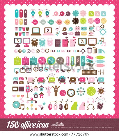 150 office icon collection - stock vector